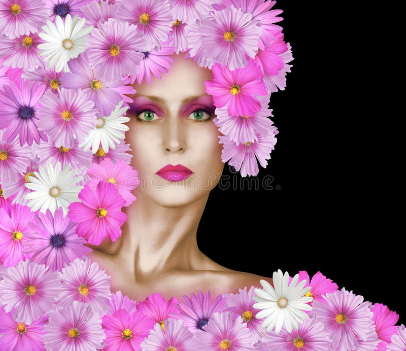 Fashion Face With Pink Flowers stock image