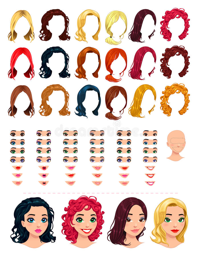 Fashion female avatars. 18 hairstyles, 18 eyes, 18 mouths, 1 head, for multiple combinations. In this image, some previews. Vector file, isolated objects