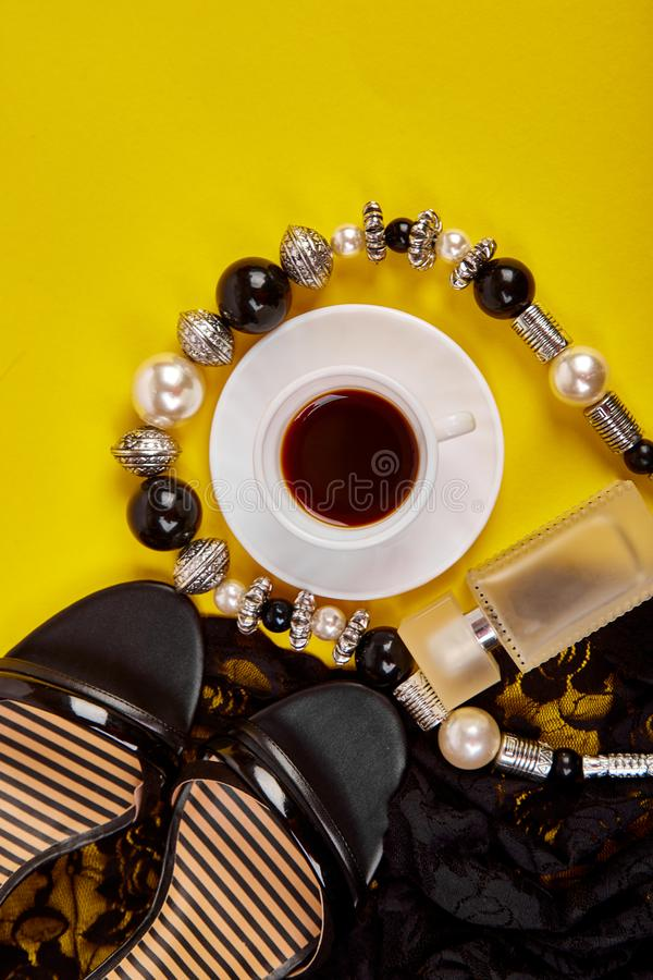 Minimal set of women accessories with cup of coffee royalty free stock photo