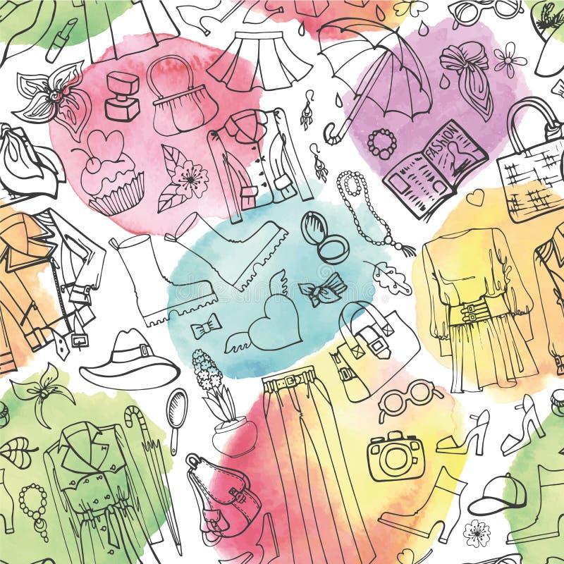 fashion fjädern Kvinnors sömlös modell för kläder vattenfärg stock illustrationer