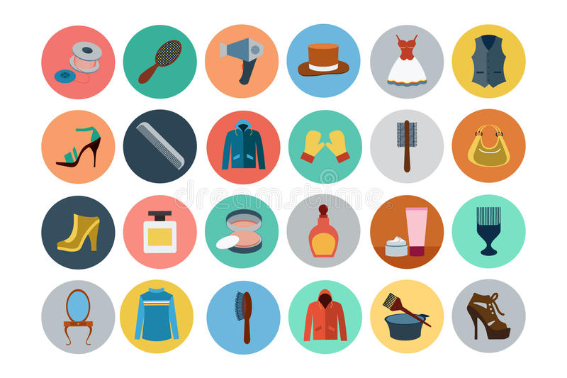 Fashion Flat Icons 4 vector illustration