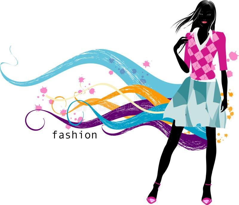 fashion flickan royaltyfri illustrationer