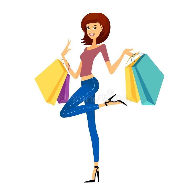 fashion flickashopping Den härliga kvinnan med shopping hänger lös stock illustrationer