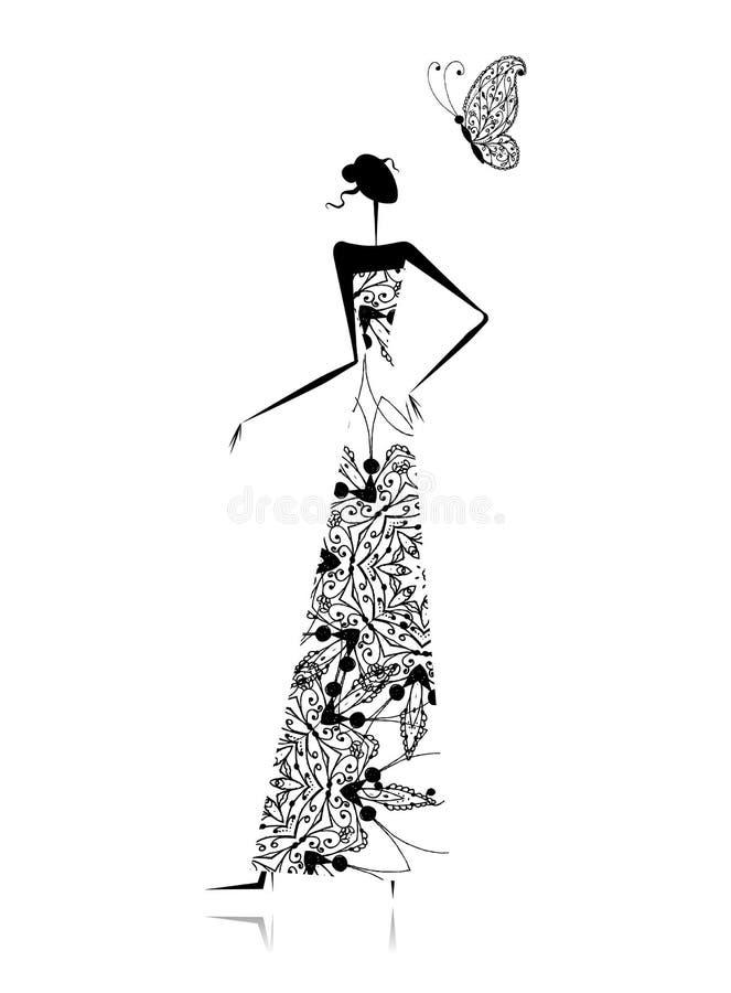 Fashion flickasilhouetten i bröllopsklänning vektor illustrationer