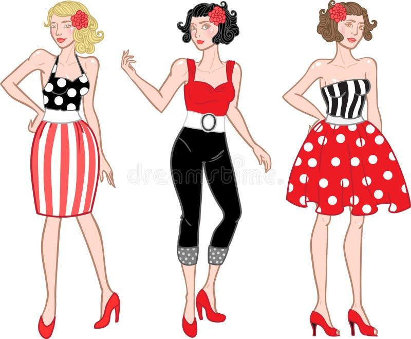fashion flickor vektor illustrationer