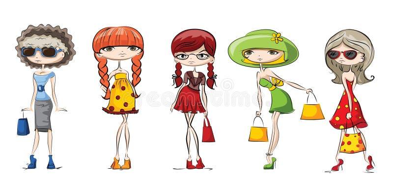 fashion flickor stock illustrationer