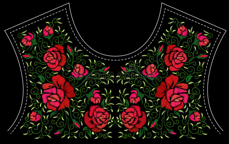 Fashion floral embroidery. vector illustration