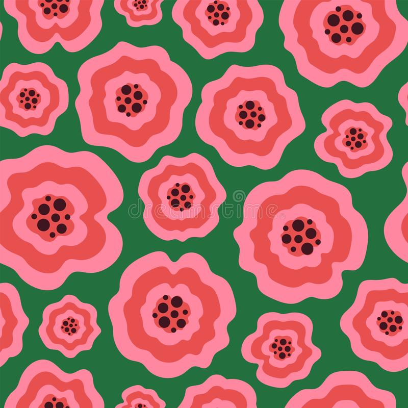 Unique pink liquid flowers on green seamless pattern royalty free stock photography