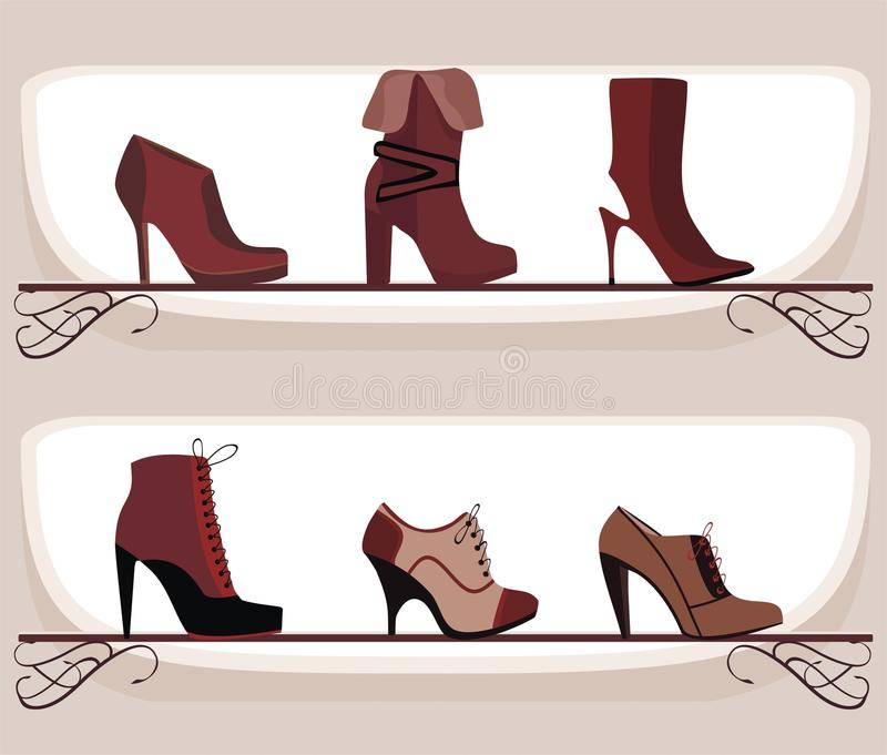 Fashion footwear. Vector drawing of the shelves with fashion footwear stock illustration