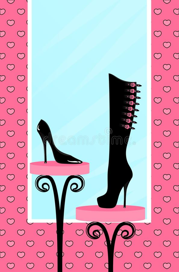 Fashion footwear sales. In the window of shop vector illustration