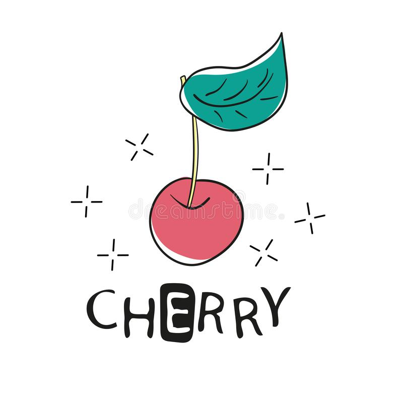Fashion Funny Slogan with cherry patch for T-shirt and apparels graphic Print stock illustration