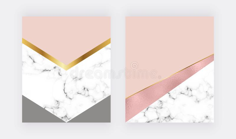 Fashion geometric backgrounds with rose gold foil and marble texture. Modern design for celebration, flyer, social media, banner, royalty free illustration