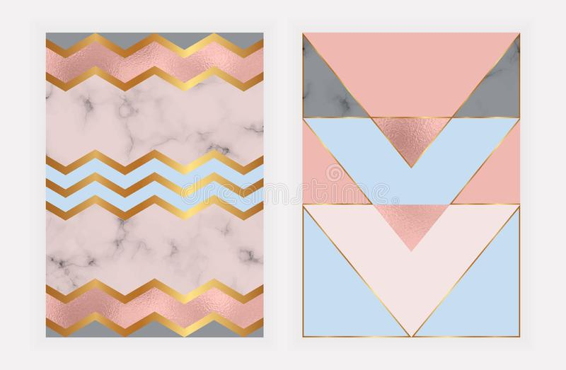 Fashion geometric design with rose gold foil and marble texture. Modern background for card, celebration, flyer, social media, ban royalty free illustration