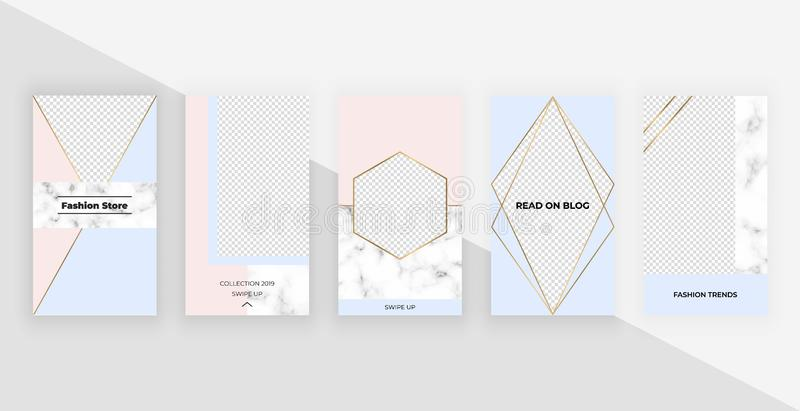 Fashion geometric templates for instagram stories, social media, flyers, card, poster, banner. Modern cover design with foil and m stock illustration