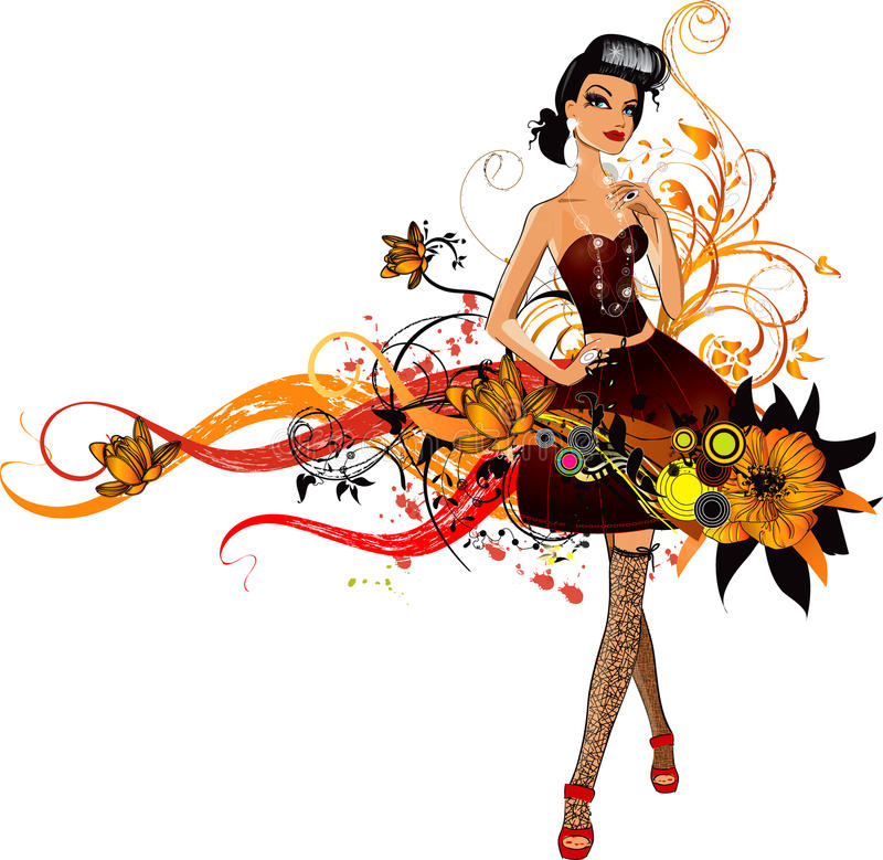 Fashion girl stock illustration