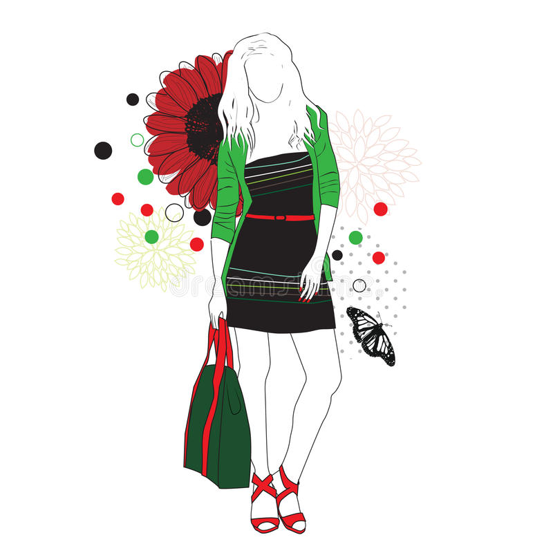 Fashion girl. On a floral background stock illustration