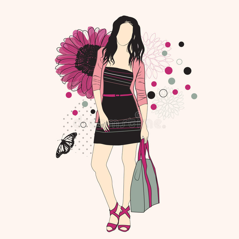 Fashion girl. On a floral background vector illustration