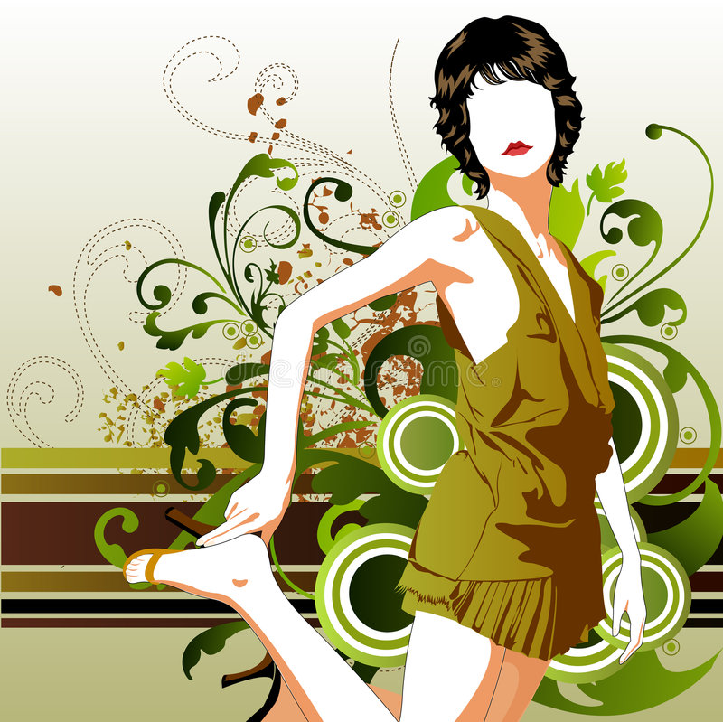 Download Fashion girl stock vector. Image of vector, summer, flower - 2162975