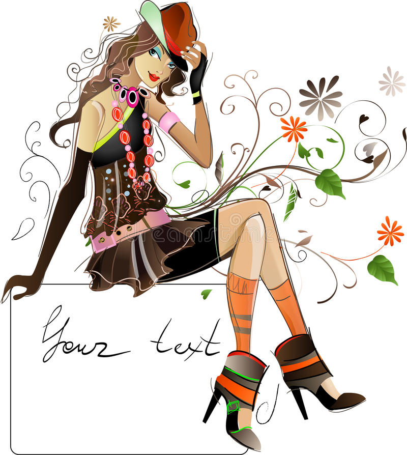 Download Fashion girl stock vector. Image of woman, portrait, faddish - 22214180