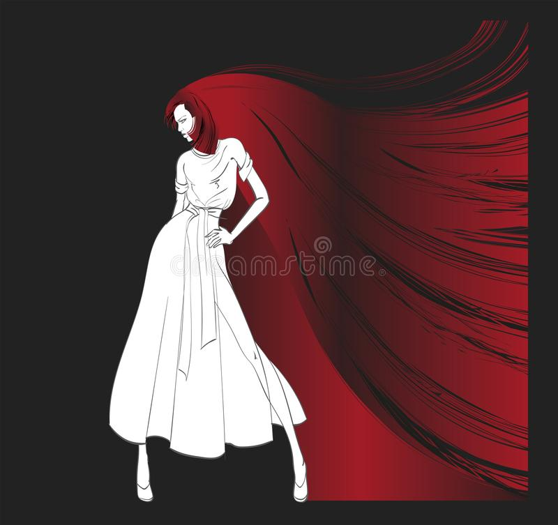 Fashion girl. Beautiful young woman with long hair. royalty free illustration