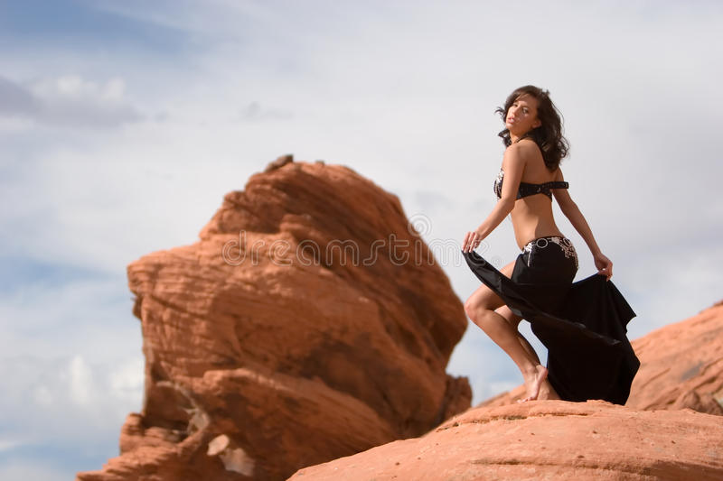 Fashion girl in belly dance dress royalty free stock photography