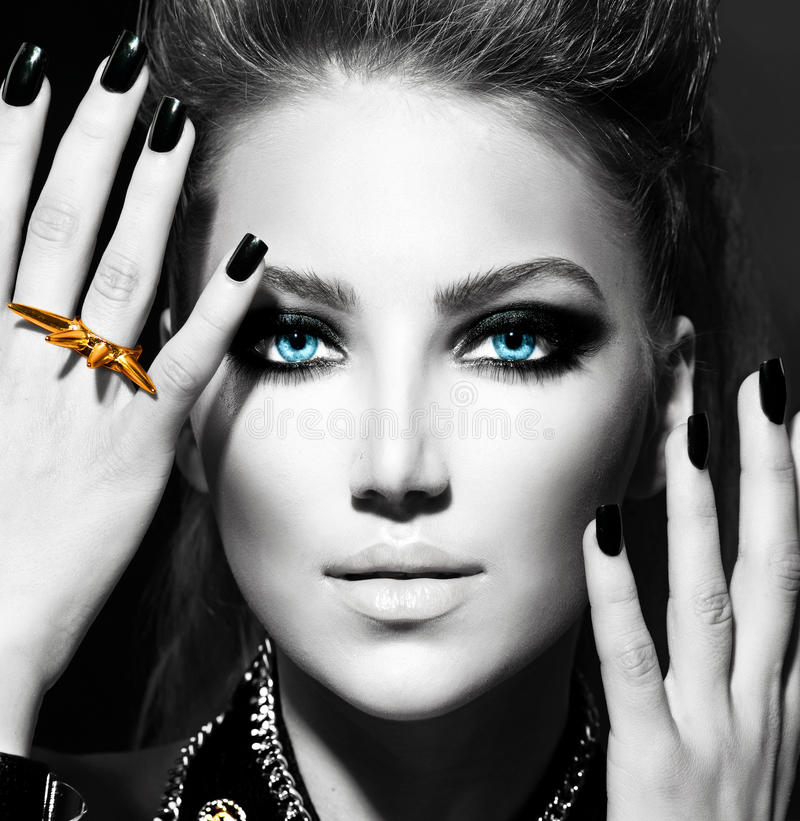 Download Fashion Girl stock image. Image of dark, gold, hairstyling - 30938259