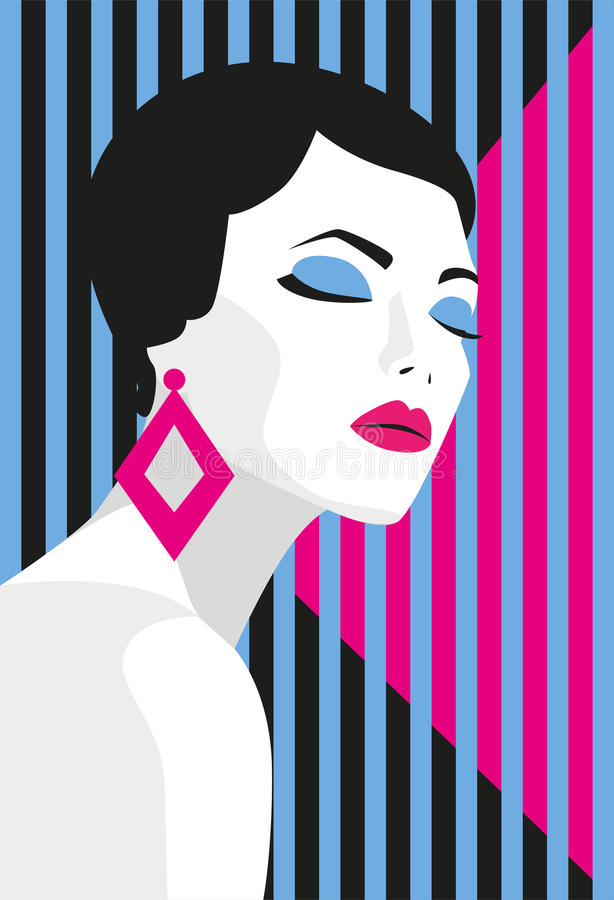 Fashion girl. Bold, minimal style. Pop Art. OpArt, positive negative space and colour. Trendy strips.Vector illustration. Stock vector royalty free illustration
