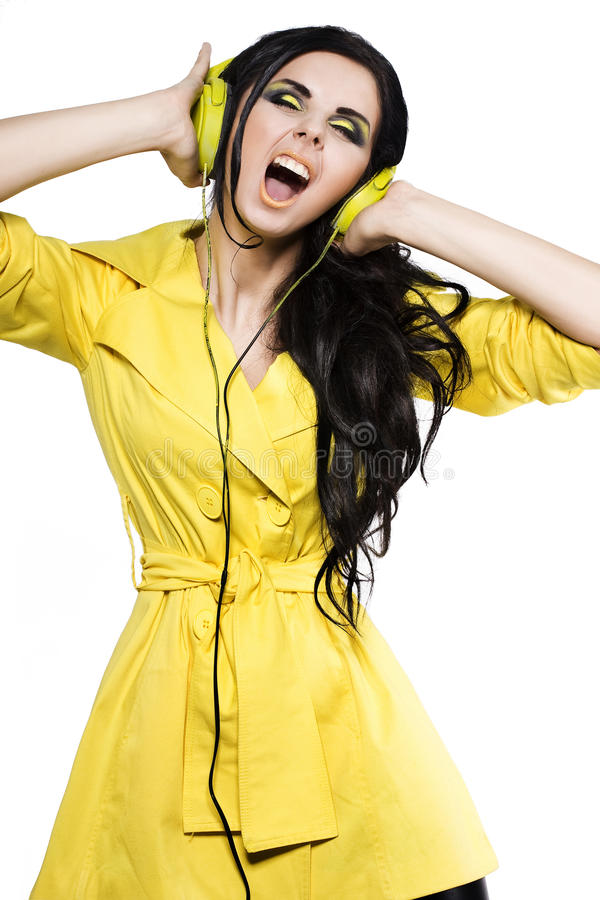 Download Fashion Girl  With A Ear-phones Stock Image - Image: 19746289