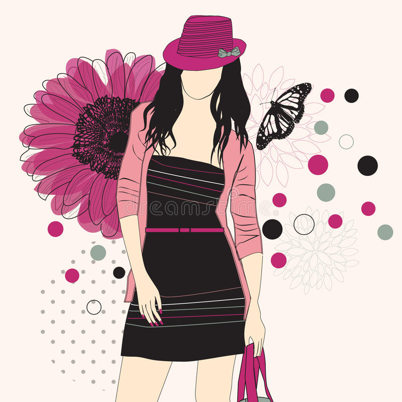 Fashion girl in hat. On a floral background vector illustration