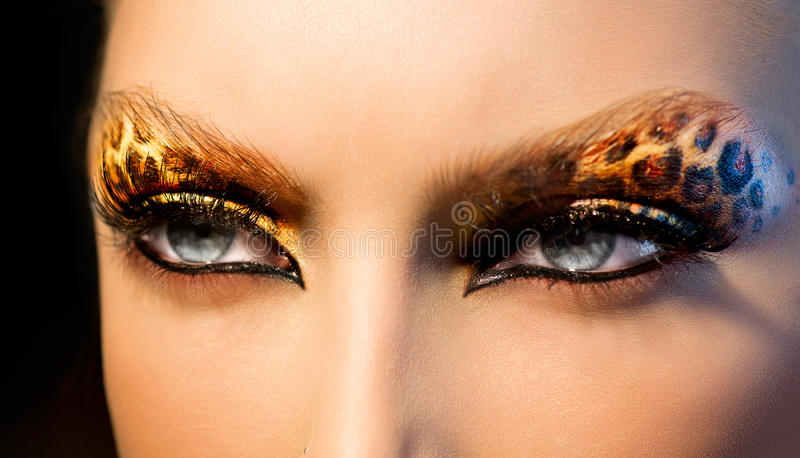 Download Fashion Girl With Leopard Makeup Stock Photo - Image: 34430482
