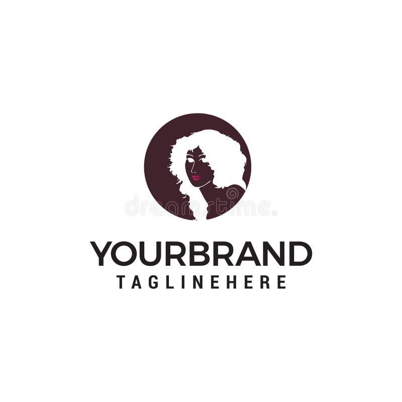 Fashion girl logo design concept template royalty free illustration