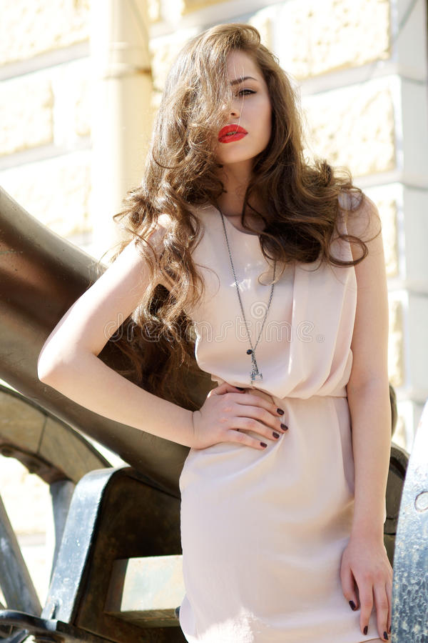 Fashion Girl With Long Hair And Red Lips Royalty Free Stock Photo