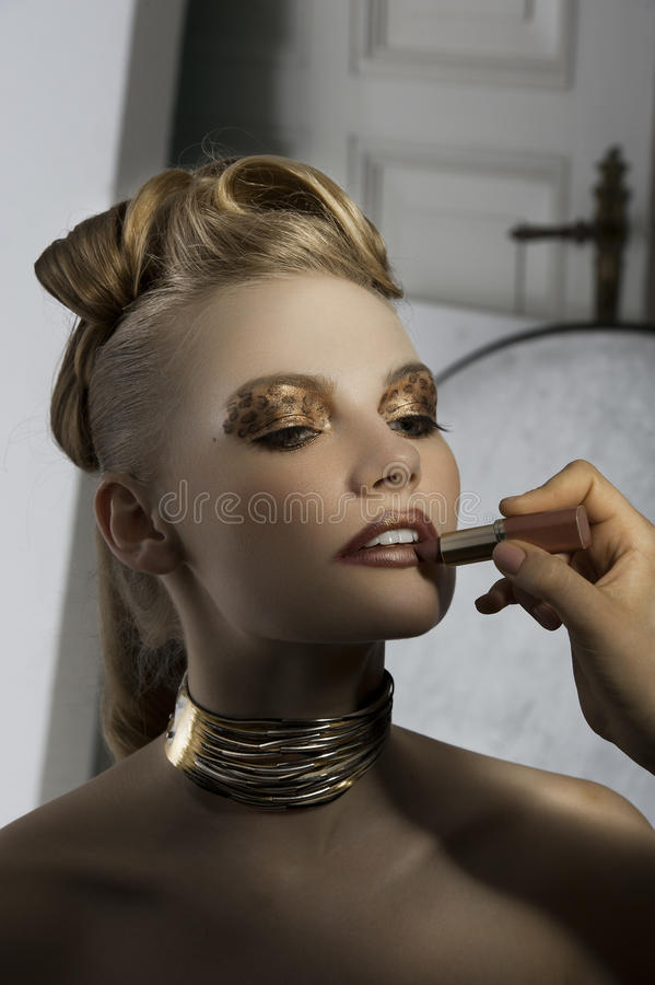 Fashion girl make up backstage stock image