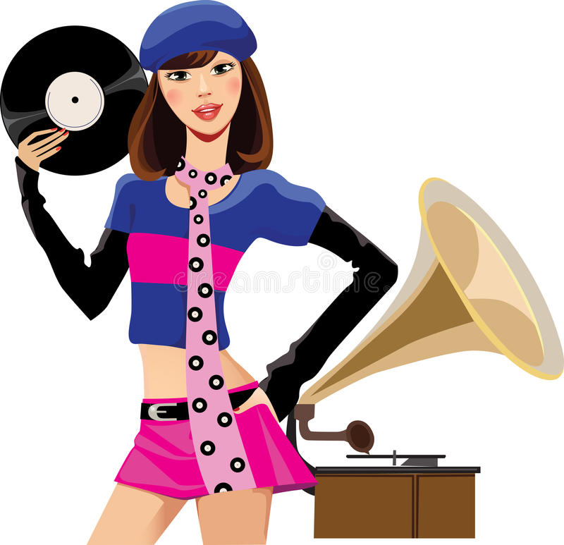 Fashion girl with musical plate. Vector illustration of cute girl with musical plate and gramophone vector illustration