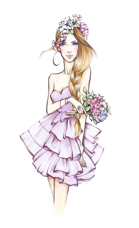 fashion girl piękne kobiety young kwiaty kobiety nakreślenie ilustracja wektor
