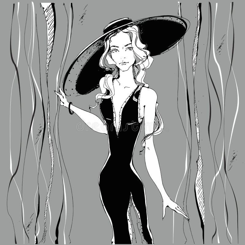 fashion girl Piękno model w kapeluszu grafit greaser również zwrócić corel ilustracji wektora ilustracja wektor