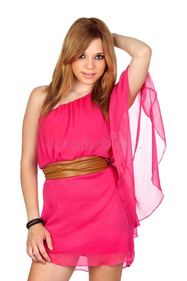Download Fashion Girl With Pink Dress Stock Photo - Image of pretty, adult: 26956652