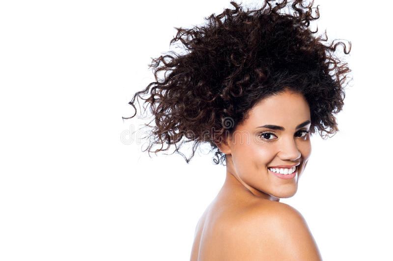 Fashion Girl Portrait, Curly Hair Stock Image