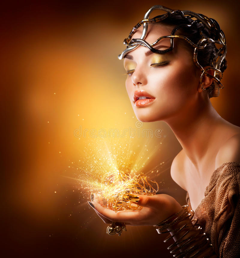 Fashion Girl Portrait. Gold Makeup royalty free stock photos
