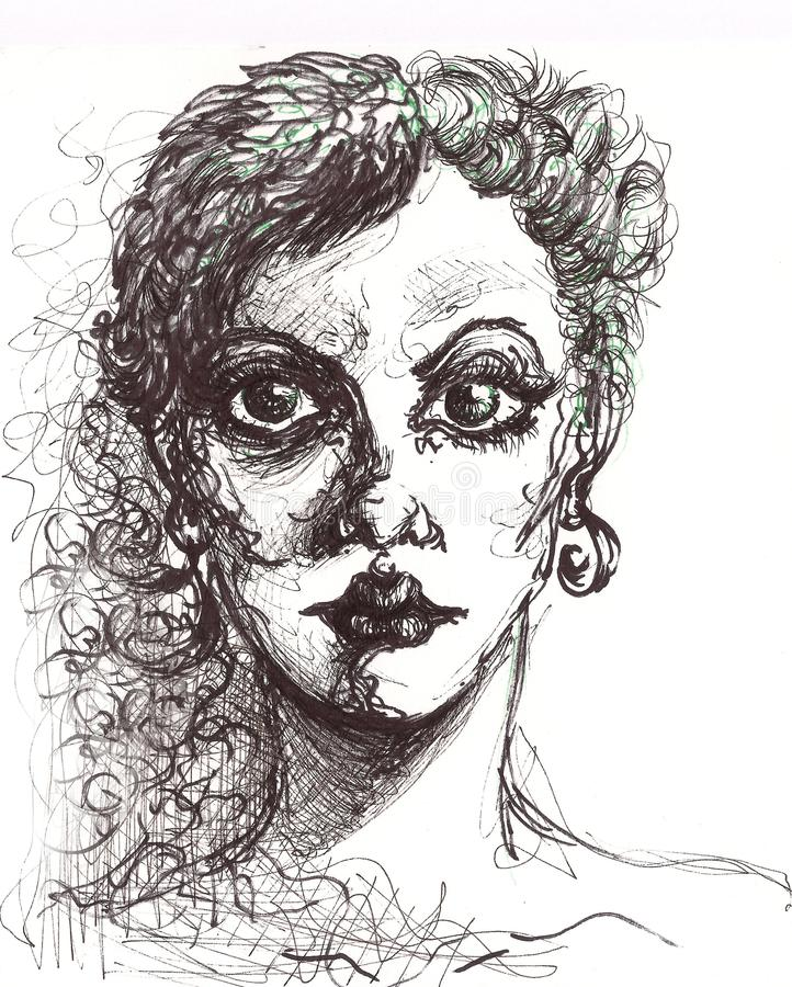 Fashion girl portrait with line art painting. Fashion woman model face. pencil drawing illustration art. black lines and colors royalty free illustration