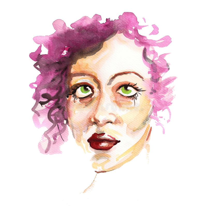 fashion girl portrait with watercolor painting stock