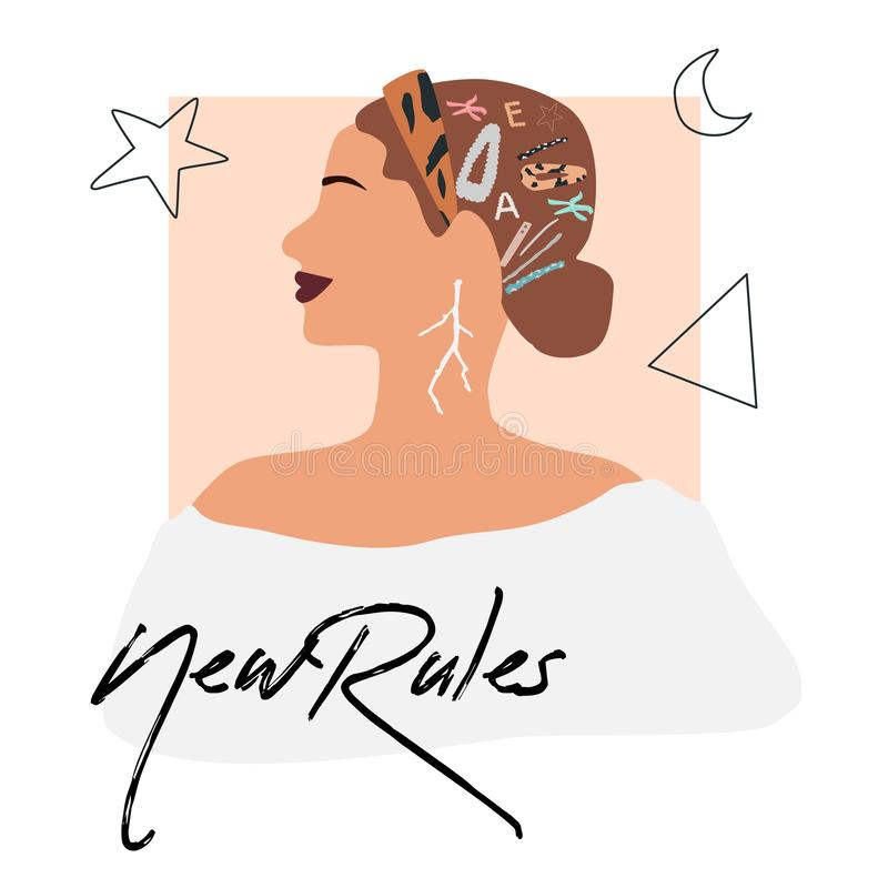 Fashion girl profile portrait  with trendy hairstyle and hair band. royalty free illustration