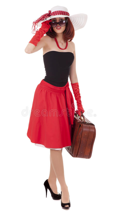 Fashion girl in retro style is dancing stock photo