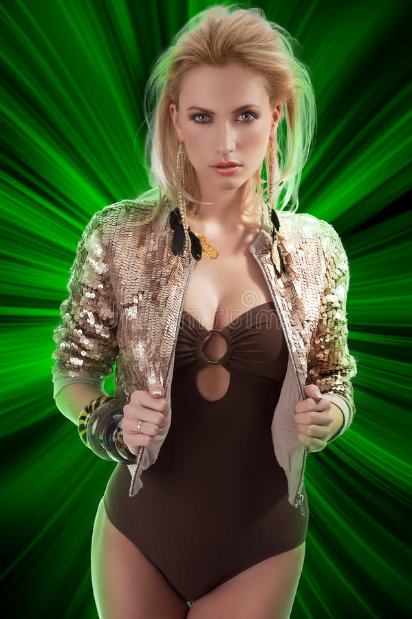 Download Fashion Girl With Shining Sequins Jacket Stock Image - Image: 23375261