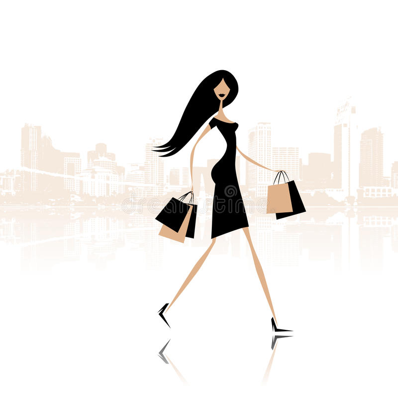 Download Fashion Girl With Shopping Bags On The City Street Stock Vector - Image: 21735646