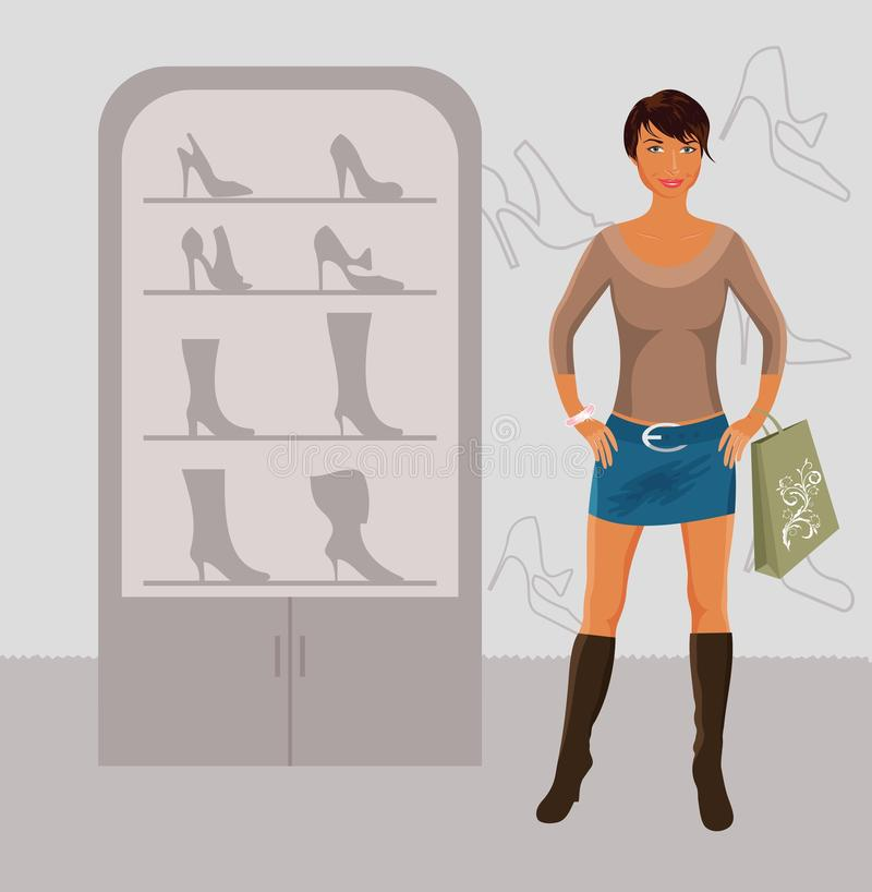 Fashion girl shopping in shoe shop. Illustration fashion girl shopping in shoe shop - vector royalty free illustration