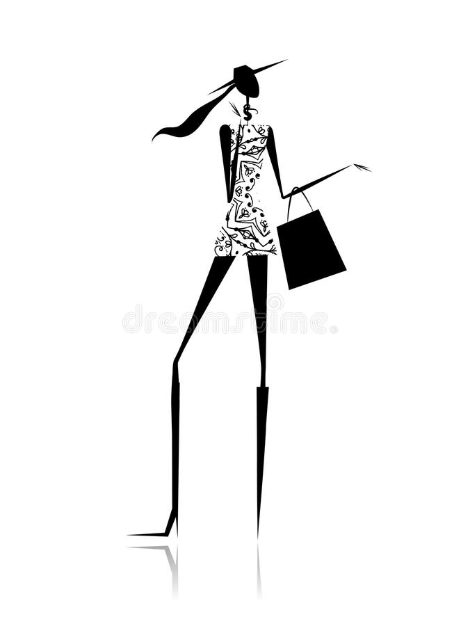 Fashion girl silhouette with shopping bag royalty free illustration