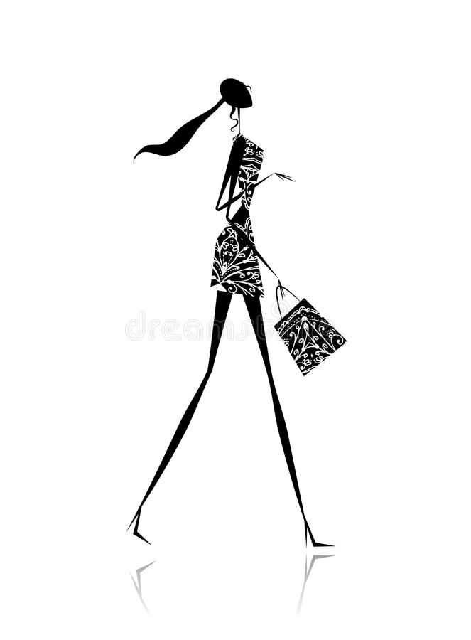 Download Fashion Girl Silhouette With Shopping Bag Stock Vector - Image: 21735604