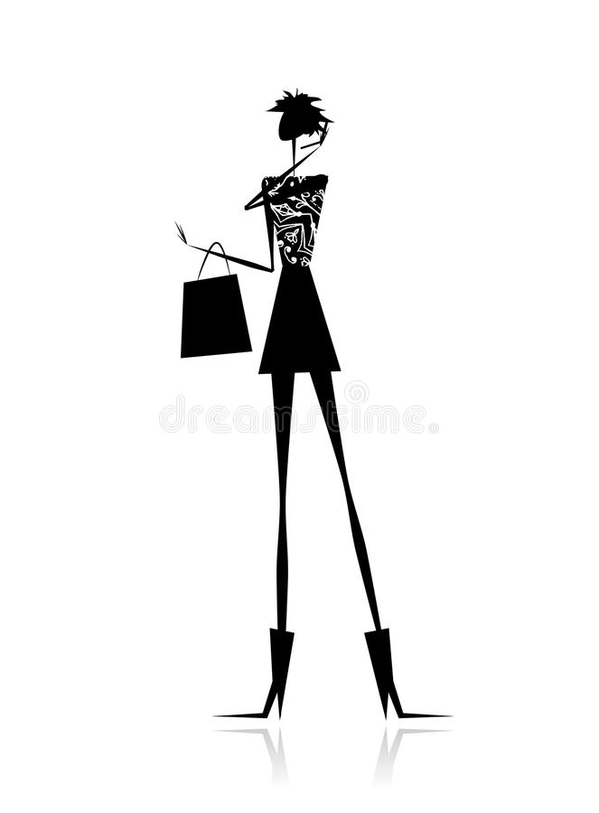 Fashion girl silhouette with shopping bag stock illustration