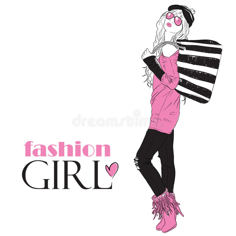 Fashion Girl In Sketch Style Royalty Free Stock Photography Image 29083207